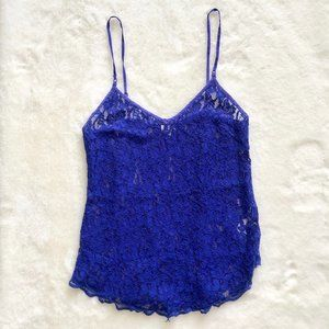Under/Wilfred (Aritzia) Blue Lace Tank Top